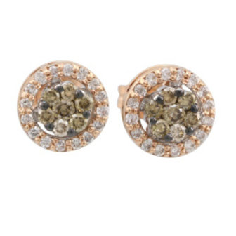 BROWN & WHITE DIAMOND FLORAL CLUSTER EARRINGS