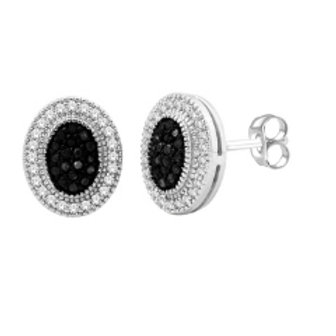 BLACK & WHITE DIAMOND PAVE OVAL EARRINGS