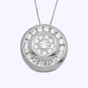DOUBLE CHANNEL CLUSTER ROUND PENDANT