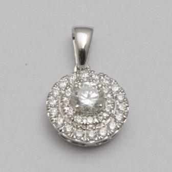 DIAMOND DOUBLE HALO CLUSTER PENDANT