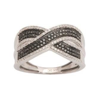 BLACK & WHITE DIAMOND CRISS CROSS PAVE RING