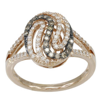 BROWN & WHITE DIAMOND SWIRL RING