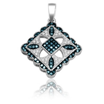 BLUE & WHITE DIAMOND FASHION PENDANT