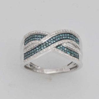 BLUE & WHITE DIAMOND CRISS CROSS PAVE