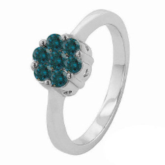 BLUE DIAMOND FLORAL CLUSTER RING
