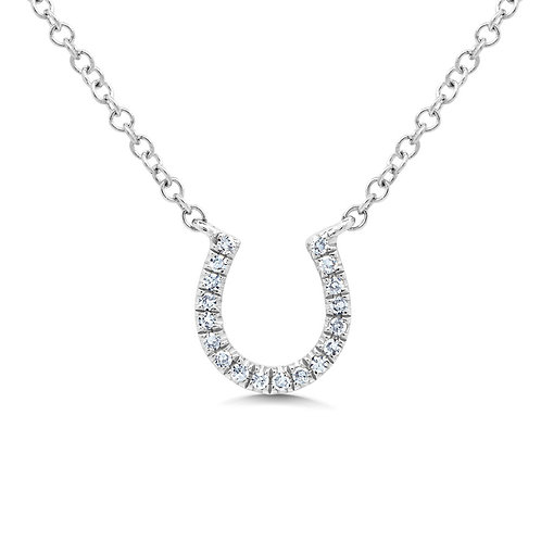 0.06ct 14k White Gold Diamond Horseshoe Necklace