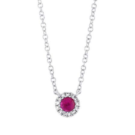 0.04ct Diamond & 0.14ct Ruby 14k White Gold Diamond Necklace