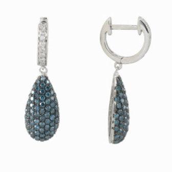 BLUE & WHITE DIAMOND PAVE DROP EARRING