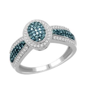 BLUE & WHITE DIAMOND PAVE OVAL RING