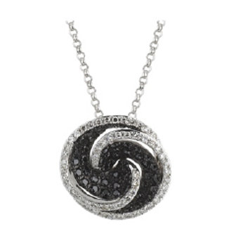 BLACK & WHITE DIAMOND ROUND SWIRL PENDANT