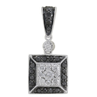 BLACK & WHITE DIAMOND SQUARE PENDANT