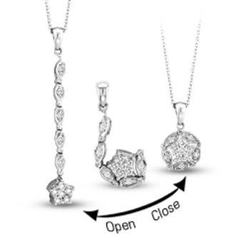 SILVER & DIAMOND ROUND CONVERTIBLE PENDANT