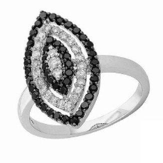 BLACK & WHITE DIAMOND MARQUISE SHAPED RING