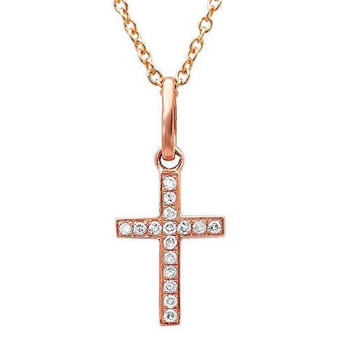 0.06ct 14k Rose Gold Diamond Cross Necklace