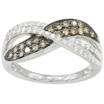 BROWN & WHITE DIAMOND PAVE BYPASS RING