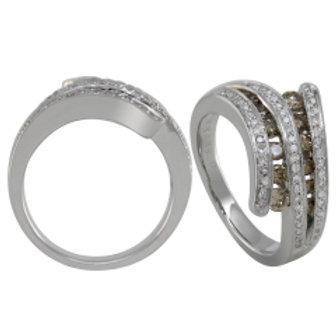 BROWN & WHITE DIAMOND BYPASS RING