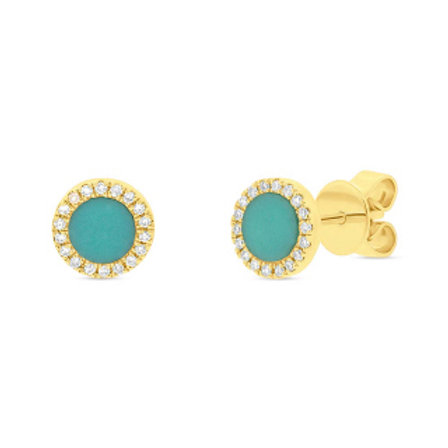 0.08ct Diamond & 0.47ct Composite Turquoise 14k Yellow Gold Stud Earring