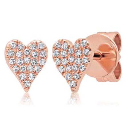 0.10ct 14k Rose Gold Diamond Pave Heart Stud Earring