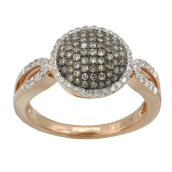 BROWN & WHITE DIAMOND ROUND PAVE RING