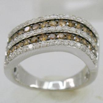 BROWN & WHITE DIAMOND WIDE SWIRL RING