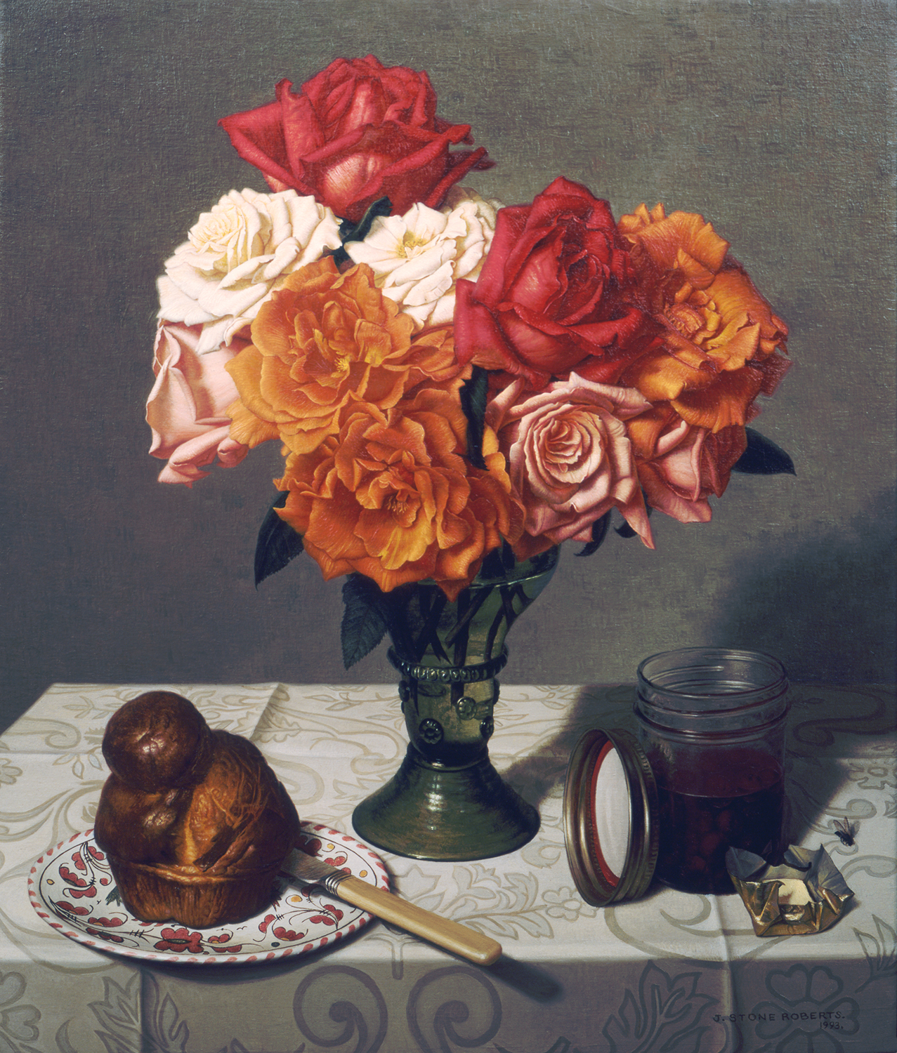 STILL LIFE WITH ROSES AND BRIOCHE (1993)