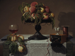 STILL LIFE WITH PEACHES, OPERA GLASSES, RIBBON AND WINE (2006/07)