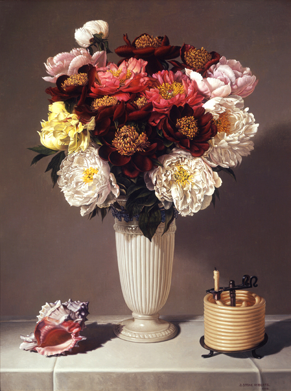 PEONIES, SHELL AND COILED CANDLE (2009)