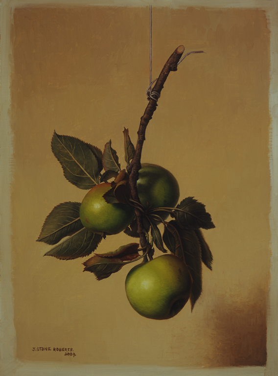 A HANGING BRANCH WITH THREE GREEN APPLES (2009)