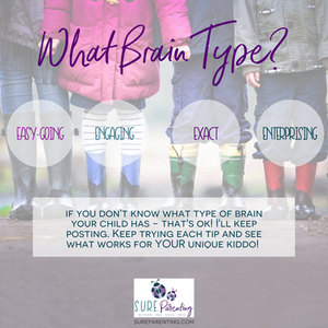 4 children's feet in different boots each labeled with a type of easy-going, engaging, exact, or enterprising