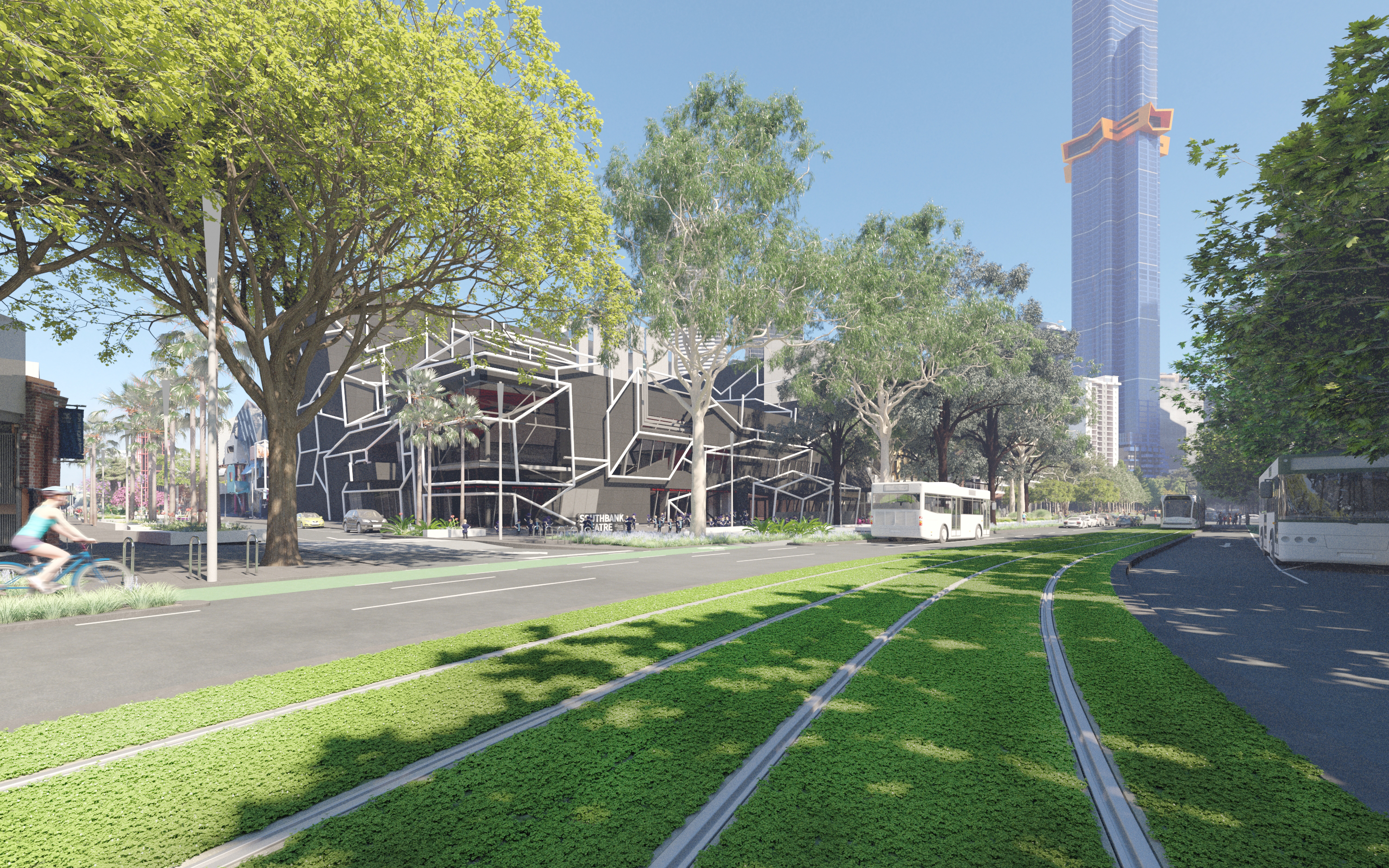 looking west from St Kilda Road with proposed green tramway