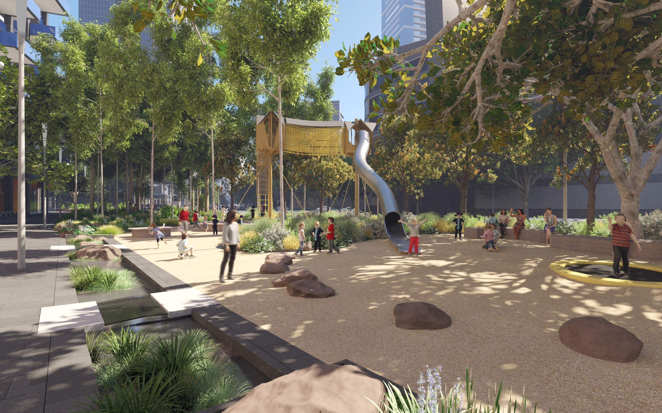Kavanagh Street to Fawkner Street with new trees and play space