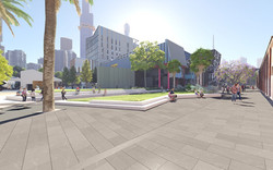 Dodds Street interface with new Melbourne Conservatorium of Music linear park