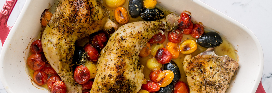 Roasted Chicken with Olives and Tomatoes