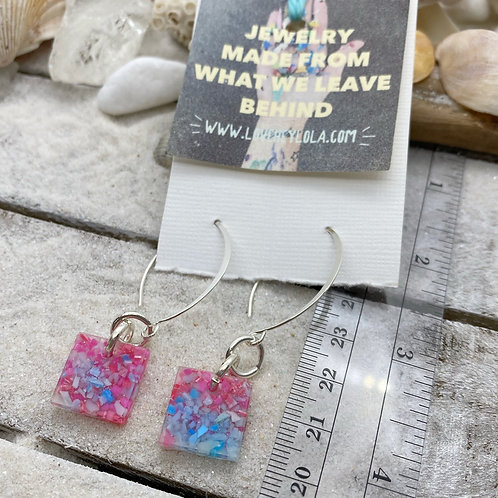 Pink and Blue Clouds Plastic Pigment and Bio Resin Silver Drop Earrings