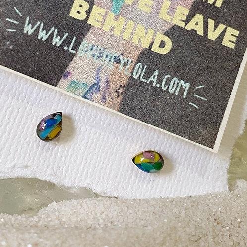 Multi Color Teardrop Ocean Plastic Marine Debris Earrings