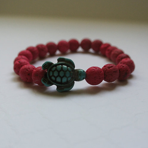 Pink and Blue Lava Stone Turtle Bracelet