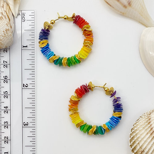 ROYGBIV and Gold Multi-Colored Recycled Disc Bead Hoop Earrings