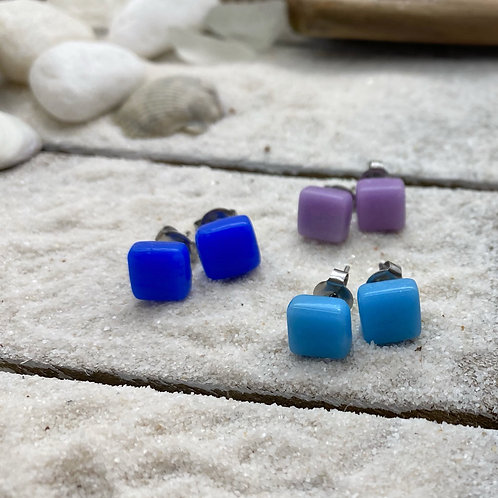 Recycled Glass Post Earrings - 3 Pairs in Night Sky