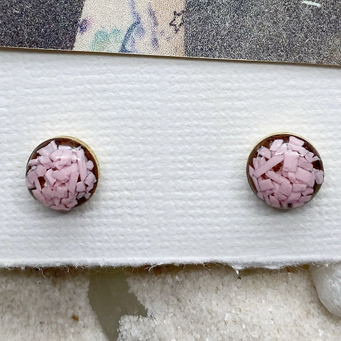 Soft Pink Round Post Plastic Trash Earrings