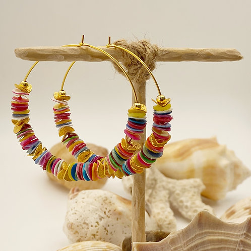 LARGE Multi-Colored Recycled Disc Bead Hoop Earrings in Gold