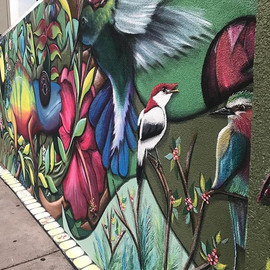 Rainforest Tropical Bird mural by Peoria Illinois artist muralist Jessica McGhee Hey Lola loveheylola