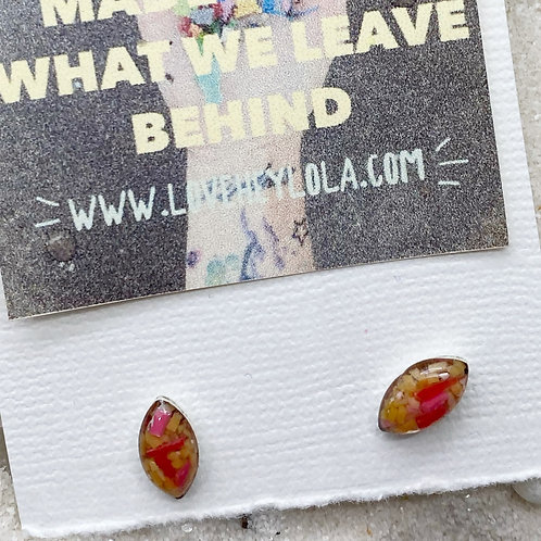 Diamond Shaped Hot Sauce Post Plastic Trash Earrings