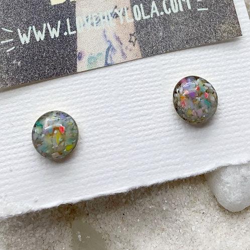 Multicolor Pastel Post Plastic Trash Earrings