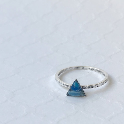 SZ 9 Ocean Blue Triangle Mindfully Mined Micro Plastic Stacking Ring in S