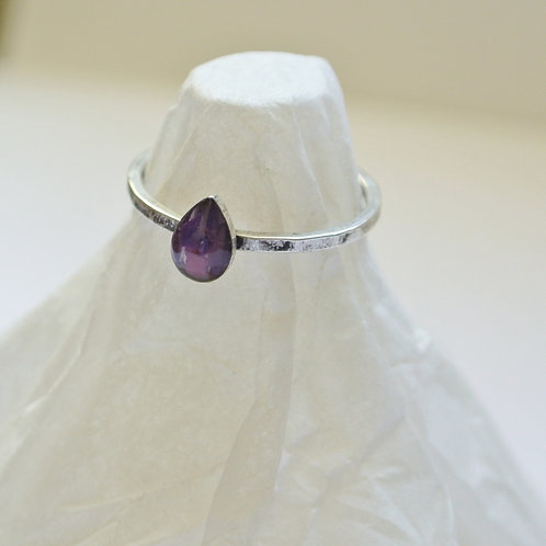 SZ 7 Purple Teardrop Silver Mindfully Mined Micro Plastic Stacking Ring