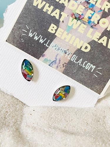 Colorful Marquise Ocean Plastic Marine Debris Earrings