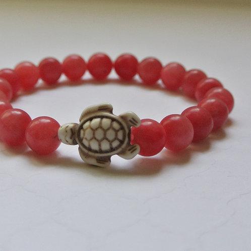 Coral Stone Turtle Bracelet