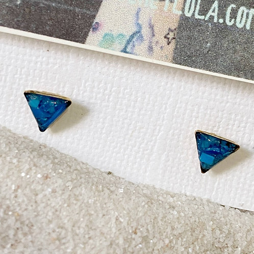 Deep Blue Triangle Ocean Plastic Marine Debris Earrings