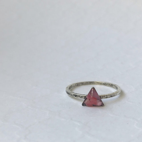 SZ 8 Pink/Lavende Triangle Micro Plastic Stacking Ring in Silver
