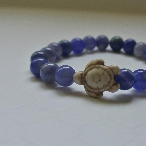 Blue Agate Turtle Bracelet